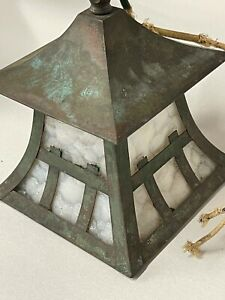 """WONDERFUL COPPER ARTS & CRAFTS LIGHTING SCONCE ORIGINAL GLASS 7"""" tall by 6 wide"""