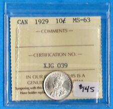 Canada 1929 10 Cents Ten Cent Silver Coin - ICCS MS-63