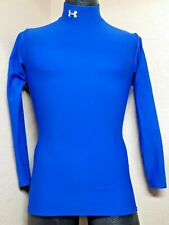 Under Armour Adult Small Compression Shirt Long Sleeve Mock Neck Blue Turtleneck