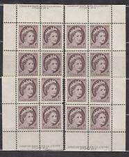 1954 #337 1¢ QUEEN ELIZABETH II WILDING PLATE BLOCKs #9 F-VF
