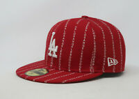 New Era 59Fifty Hat Mens MLB Los Angeles Dodgers Word Pinstripe Red Fitted Cap