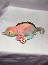 Rare Retired TY Beanie Baby - Iggy The Iguana - Rainbow Color - Indonesia