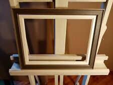 Encadrement en bois ,profil mouluré ,gris neutre  ,avec ml ivoire 33 x 24 cm 4F