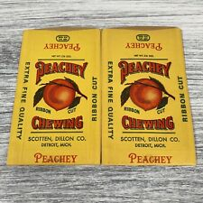 Lot Of 2 Peachy Ribbon Cut Chewing Tobacco Detroit Mich. Packaging Advertisment