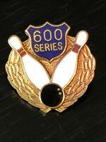 Collectible Vintage Bowling 600 Series Colorful Metal Pinback Lapel Pin Hat Pin