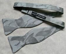 NUOVO Lusso Seta Self TIE Dickie Papillon britannico fatto volare Anatra Mallard GREY
