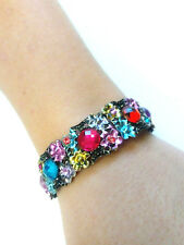 Vintage Enameled Metal Flower Cuff Colorful Gems Bracelet
