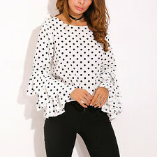 Fashion Women Blouse Tops Ladies Long Sleeve Polka Dot Loose Casual Shirt