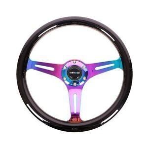 NRG ST-015MC-BK Steering Wheel Smooth Classic Black Wood Grain Neo Chrome 350mm