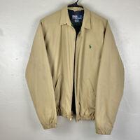 Vintage Polo Ralph Lauren Harrington Jacket Small Beige Green Flannel Lined