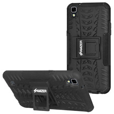 Hybrid Shockproof Cover Warrior Case for LG X Power - Black Dual Layer Stand