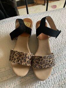Kanna Leopard Metallic Espadrille Wedge Sandals Unworn UK 8