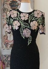 Vintage SEQUIN Flower BLACK Silk COCKTAIL Party FORMAL Trophy DIVA Dress XS to S