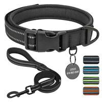 Reflektierend Hundehalsband und Leine mit Hundemarke Personalisiert Gravur XS-L