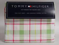 NEW Tommy Hilfiger Lafayette Square Pink Green White Plaid FULL Flat Sheet