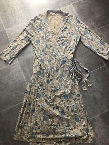 Fat Face Vintage Light Brown Dandelion Print Wrap Dress Sz 14