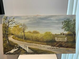 Vintage oil painting countryside 30x16 inch