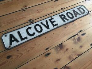 Vintage Original Cast Metal ALCOVE ROAD Street Sign
