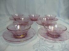 SEVEN VENETIAN MURANO PINK w/GOLD FLAKE FINGER BOWLS OR DESSERTS w/UNDERPLATES