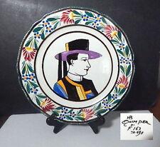 HB QUIMPER, France, Folk Art Man Portrait Dinner Plate