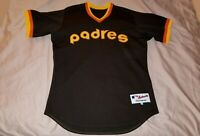 80s San Diego Padres Retro Throwback Brown & Gold Game Issued Jersey Sz 44 Large