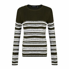 Ladies Jumper All Over Ribbed Striped Marl Mix Brave Soul UK 10-16 Lexy 10 Khaki