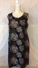 212 Collection Women's Linen Blend Medallion Print Black Sheath Dress Size 12
