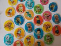 24 *PRECUT* small Paw Patrol Discs Edible wafer/rice paper cake/cupcake toppers