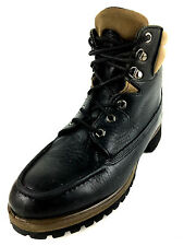 Timberland 11001 ALL leather Moc Toe Black Ankle Boots  Size 9 USA.
