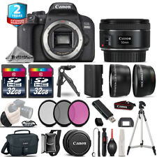 Canon Rebel 800D T7i DSLR Camera + 50mm STM - 3 Lens Kit +2yr Warranty -64GB Kit