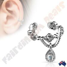 Brass Rhodium Plated Ear Cuff with Gorgeous Chain & Gem Dangle