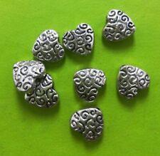 140pcs Tibet Silver Heart Bead Spacers 8x2mm 9.5x9x4mm 10685