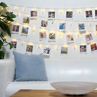 40 Photo Window Hanging Peg Clips LED String Lights Pegs Fairy Decor Battery 2m