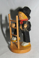 SCHUMANN & WAGNER Wood Carving BOY CLIMBING LADDER Figurine Erzgebirge Chimney