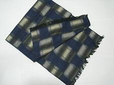 Mongolian Cashmere Cotton Men Man Scarf -Luxury Pashmina Wool Plaid Blue 17