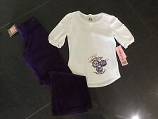 NWT Juicy Couture New Girls Age 8 Purple Velour Pants & White Cotton T-Shirt