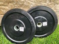 """Set of (2) CAP 25lb CrossFit 2"""" Barbell Bumper Plates (50lb Total) Ships NextDay"""