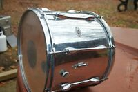 SLINGERLAND, VINTAGE NILES CHROME on wood, TOM DRUM, was snare. ..8 mach lugs.