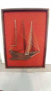 Vintage! Large Mid Century 3D String Art Boat Clipper Ship Wall Decor Picture!!