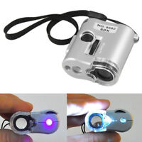 60X Handheld Mini Microscope Loupe Jeweler Check Magnifier Tool W/ LED Light