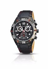 Accurist Men's Quartz Watch with Chronograph Display and Black Leather Strap