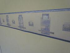Wall Border,, Classic Box Design, Cream Blue Silver, 5M, Wallpaper home Zen 5157