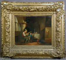 PRIMITIVE OIL PAINTING OF DADDY & SON AT HOME O/C MOMS IN THE BACK ROOM C. 1870s