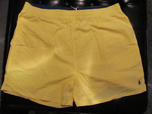 NEW XB XL BIG EXTRA LARGE Ralph Lauren POLO Swimsuit YELLOW w NAVY BLUE PONY $60