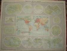 1920 LARGE MAP ~ MAPPING OF THE WORLD ~ 23 INCHES x 18