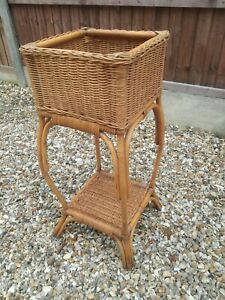 Vintage Retro Bamboo Two Tier Plant Stand