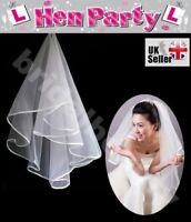 White Ivory Wedding Veil Bachelorette Bride To Be Fancy Dress Hen Night Party