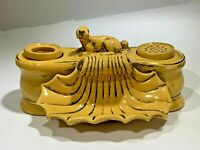 Antique HH RARE Fantastic Antique Yellowware Yellow Ware Dog Motif  Inkwell
