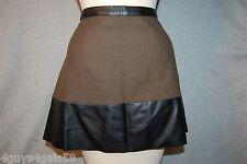 Womens DARK OLIVE GREEN TWEED Black Faux Leather A LINE MINI SKIRT Raw Hem S 4-6