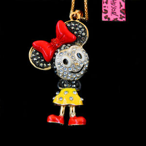 Betsey Johnson Yellow Cute Cartoon Minnie Mouse Pendant Sweater Chain Necklace